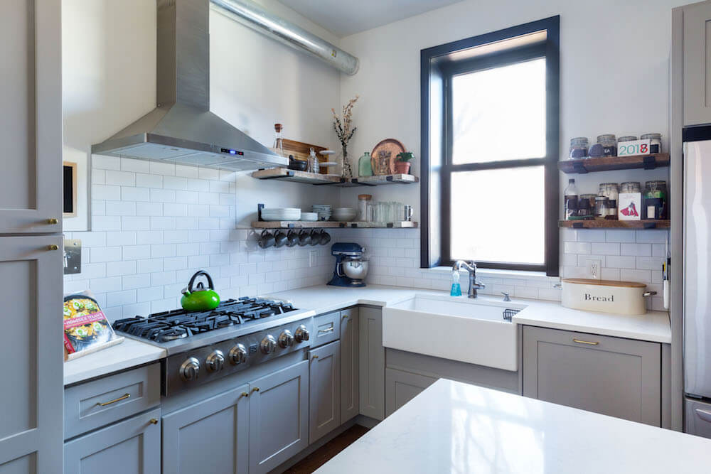 Image of townhouse kitchen with engineered stone counters