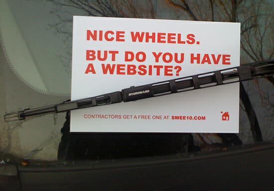contractor windsheld with postcard